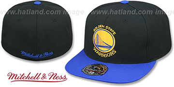 Warriors BASIC-LOGO Black-Royal Fitted Hat by Mitchell and Ness