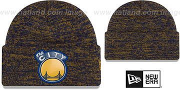 Warriors 'BEVEL' Royal-Gold Knit Beanie Hat by New Era