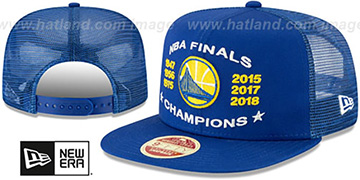 Warriors CHAMPIONS TRUCKER SNAPBACK Royal Hat by New Era