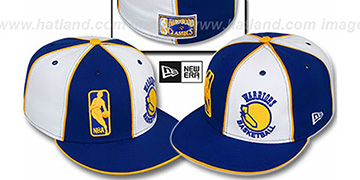 Warriors DW OLD SCHOOL-LOGOMAN Royal-White Fitted Hat