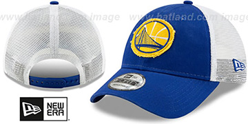 Warriors FRAYED LOGO TRUCKER SNAPBACK Hat by New Era