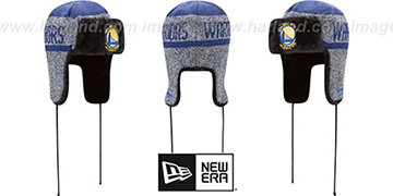 Warriors FROSTWORK TRAPPER Royal Knit Hat by New Era