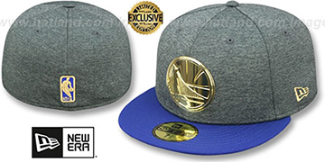 Warriors GOLD METAL-BADGE Shadow Tech-Royal Fitted Hat by New Era