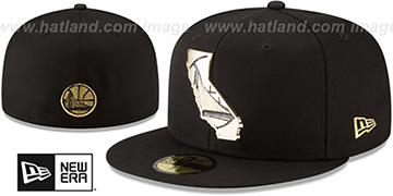 Warriors GOLD STATED METAL-BADGE Black Fitted Hat by New Era