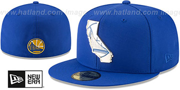 Warriors 'GOLD STATED METAL-BADGE' Royal Fitted Hat by New Era