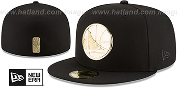 Warriors 'GOLDEN-BADGE' Black Fitted Hat by New Era