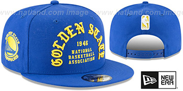 Warriors GOTHIC-ARCH SNAPBACK Royal Hat by New Era