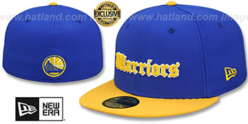Warriors GOTHIC TEAM-BASIC Royal-Gold Fitted Hat by New Era