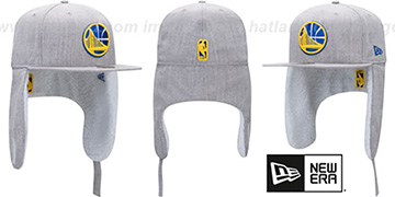 Warriors HEATHER-DOGEAR Light Grey Fitted Hat by New Era
