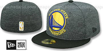 Warriors HEATHER-HUGE Grey-Black Fitted Hat by New Era
