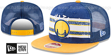 Warriors HERITAGE-STRIPE SNAPBACK Royal-Gold Hat by New Era