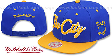 Warriors HWC CITY NICKNAME SCRIPT SNAPBACK Royal-Gold Hat by Mitchell and Ness