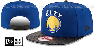 Warriors 'HWC LEATHER-RIP SNAPBACK' Royal-Black Hat by New Era