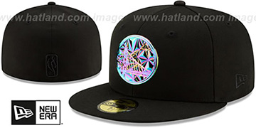 Warriors IRIDESCENT COLOR-SHIFT Black Fitted Hat by New Era