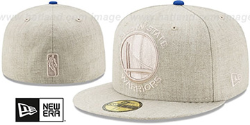 Warriors JUMBO HEATHER Oatmeal Fitted Hat by New Era