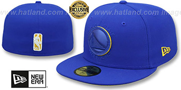 Warriors LEATHER POP Royal Fitted Hat by New Era