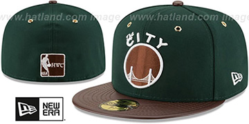 Warriors 'METAL HOOK' Green-Brown Fitted Hat by New Era