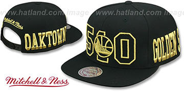 Warriors METALLIC AREA-CODE SNAPBACK Black Hat by Mitchell and Ness