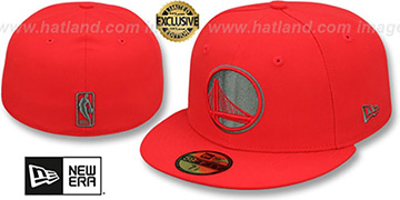 Warriors 'NBA TEAM-BASIC' Fire Red-Charcoal Fitted Hat by New Era