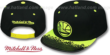 Warriors 'NEON-LAVA SNAPBACK' Black-Yellow Hat by Mitchell and Ness