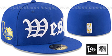 Warriors OLD ENGLISH CONFERENCE Royal Fitted Hat by New Era