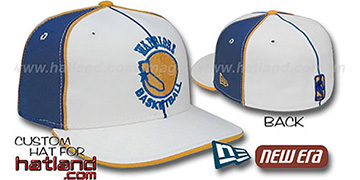 Warriors OLD SCHOOL PINWHEEL-3 White-Royal Fitted Hat