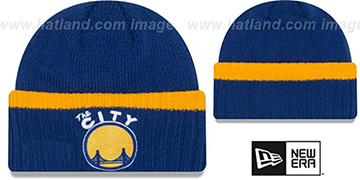 Warriors 'RIBBED-UP' Royal Knit Beanie Hat by New Era