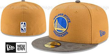 Warriors RUSTIC-VIZE Wheat-Grey Fitted Hat by New Era