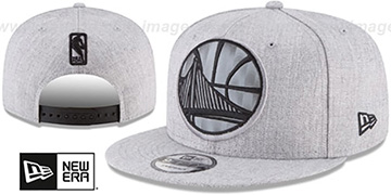 Warriors SILKED-XL SNAPBACK Heather Light Grey Hat by New Era