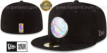 Warriors SUEDED IRIDESCENT METAL-BADGE Black Fitted Hat by New Era