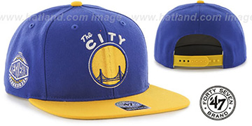 Warriors 'SURE-SHOT SNAPBACK' Royal-Gold Hat by Twins 47 Brand