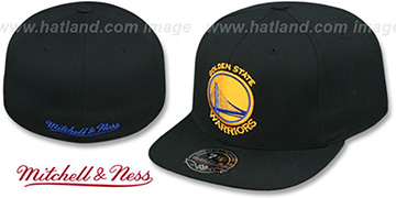 Warriors TEAM-BASIC Black Fitted Hat by Mitchell and Ness