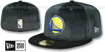 Warriors TEAM-BASIC VELOUR Black Fitted Hat by New Era