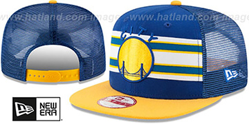 Warriors THROWBACK-STRIPE SNAPBACK Royal-Gold Hat by New Era