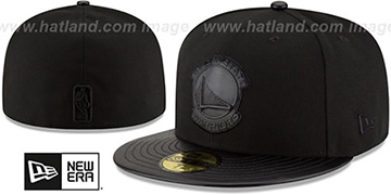 Warriors 'TONAL TRICK' Black Fitted Hat by New Era