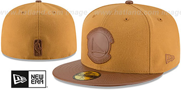 Warriors TONAL TRICK Wheat-Brown Fitted Hat by New Era
