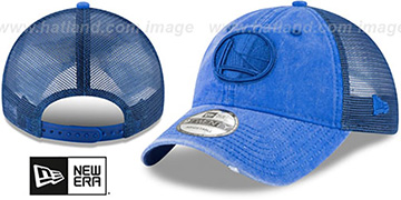 Warriors TONAL-WASHED TRUCKER SNAPBACK Royal Hat by New Era