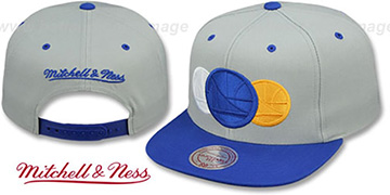 Warriors 'TRIPLE-LOGO STACK SNAPBACK' Grey-Royal Hat by Mitchell and Ness