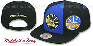 Warriors TRIPLE STACK SNAPBACK Royal-Black Hat by Mitchell and Ness