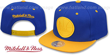 Warriors XL RUBBER WELD SNAPBACK Royal-Gold Adjustable Hat by Mitchell and Ness