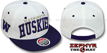 Washington 2T SUPER-ARCH SNAPBACK White-Purple Adjustable Hat by Zephyr