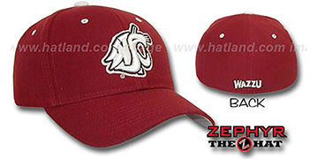 Washington State 'DH' Fitted Hat by Zephyr - burgundy