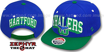 Whalers 2T BLOCKBUSTER SNAPBACK Royal-Green Hat by Zephyr