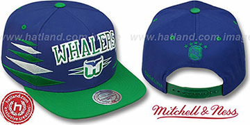 Whalers '2T DIAMONDS SNAPBACK' Navy-Green Adjustable Hat by Mitchell & Ness