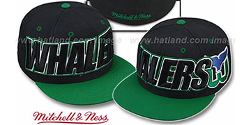 Whalers 2T WORDMARK Black-Green Fitted Hat by Mitchell & Ness
