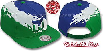 Whalers PAINTBRUSH SNAPBACK Royal-White-Green Hat by Mitchell & Ness