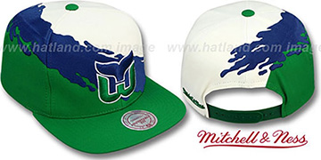 Whalers 'PAINTBRUSH SNAPBACK' White-Royal-Green Hat by Mitchell & Ness