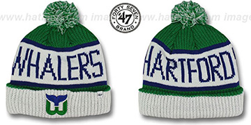 Whalers 'THE-CALGARY' White-Green Knit Beanie Hat by Twins 47 Brand