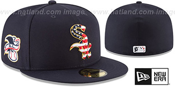 White Sox 2018 JULY 4TH STARS N STRIPES Navy Fitted Hat by New Era