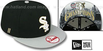 White Sox CHAMPS-HASH SNAPBACK Black-Grey Hat by New Era